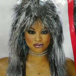 shimmer vibe Silver& Black Spikey Tina Turner LOOK